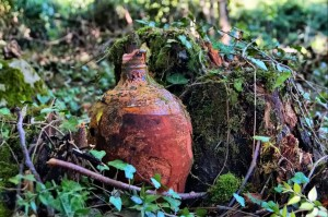 old busted clay pot for keeping water